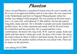 Phantom's description
